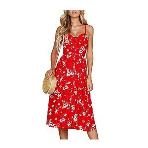 Red Spaghetti Strap Button Down Pocket Dress
